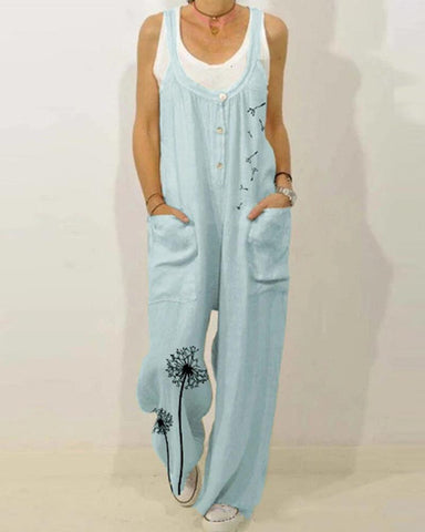 Dandelion Print Overall Jumpsuit