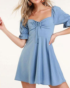 New Square Collar Bow Fairy Casual Dress