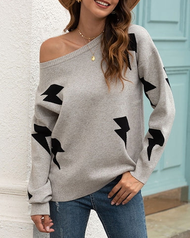 Long Sleeve Thunder Print Sweater