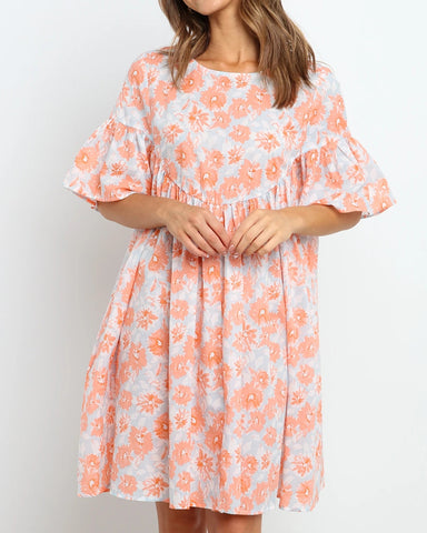 Floral Print Lantern Sleeve Pleated Mini Dress