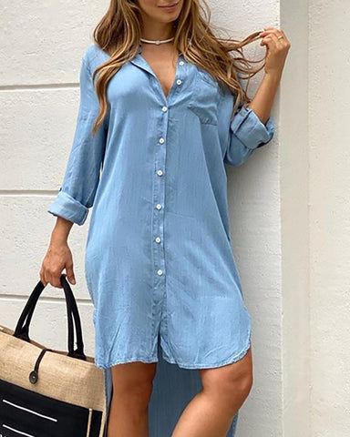 Button Design Pocket Dip Hem Casual Dress
