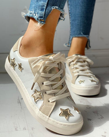Star Design Casual Lace-Up Sneakers