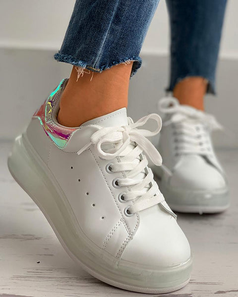 Laser Lace-up Casual Sneakers