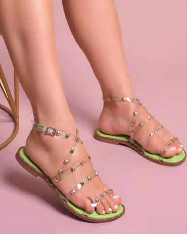 Round-toe Clear Cross Strap Splicing Studded Flat Sandals