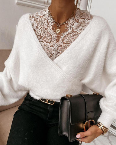 Stitching Lace Solid Color Long Sleeve Top