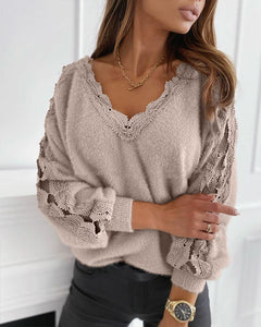 Solid Long Sleeve Loose Cut-out Lace Splicing Sweater
