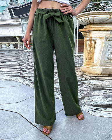 Solid Loose Drawstring Straight Pants
