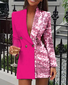 Sequins Colorblock Double Breasted Blazer Dress