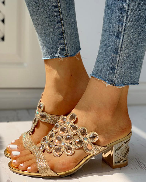 Studded Diamante Trim Chunky Heeled Sandals
