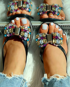 Studded Bowknot Design Flat Slipper Sandals