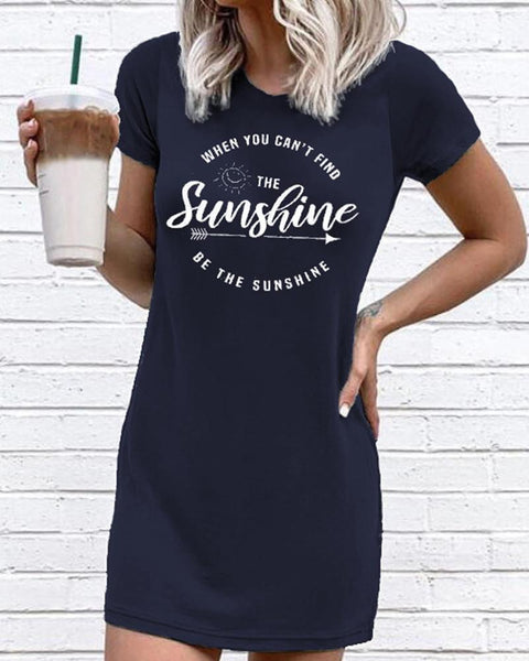 Sunshine Letter Print T-Shirt Dress