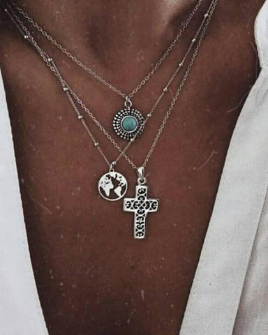 Bohemian Cross Turquoise Pendat Multilayer Necklace