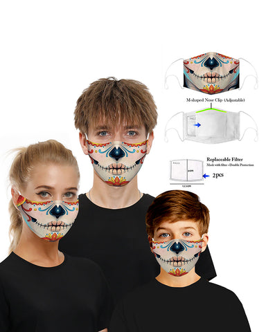 Skull Print Breathable Mouth M .a. s. k Washable And Reusable With 2PCS Replaceable Filter