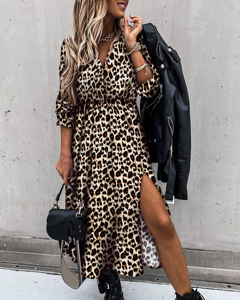 Cheetah Print High Slit Maxi Dress