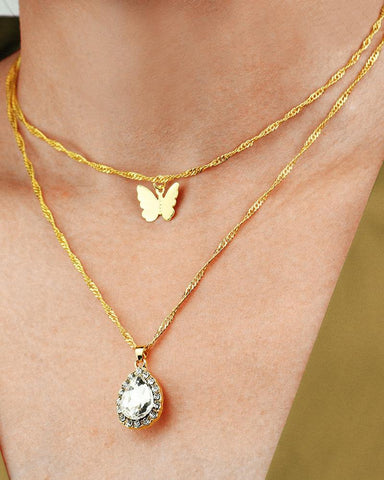 Bohemian Vintage Butterfly Pendant Multilayer Necklace