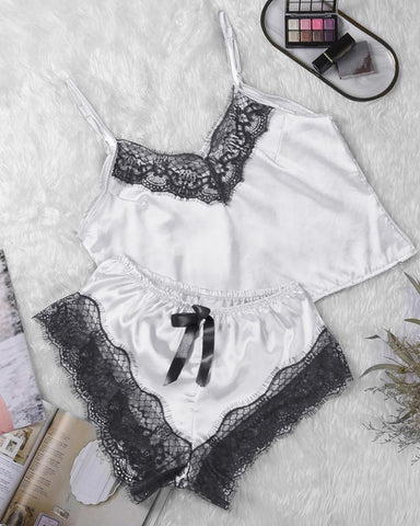 Satin Lace Patchwork Homewear Cami Sets