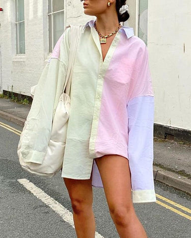 Tide Colorblock Oversized Shirt Dress
