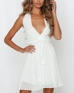 V-neck cotton halter dress