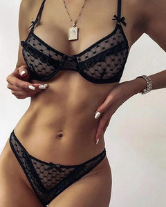 Solid Lace Mesh Bra Sets