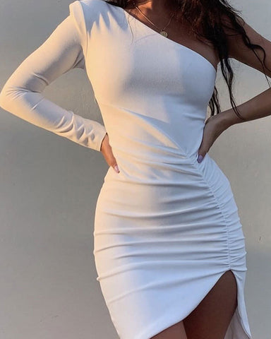 Solid Color One-shoulder Long Sleeve Ruched Skinny Mini Dress