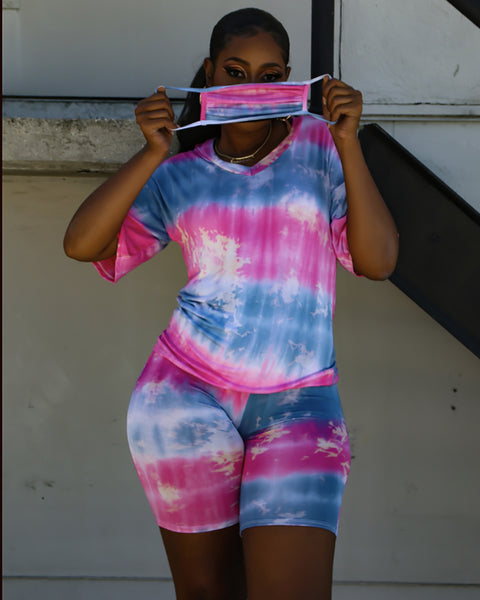 Tie Dye Print V-neck Top & Shorts Set With Face Cover