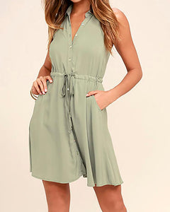 Stylish Drawstring Waist Button Closure Casual Dress