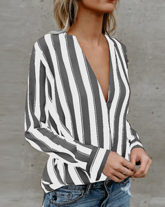 Stripes Deep V Long Sleeve Casual Blouse