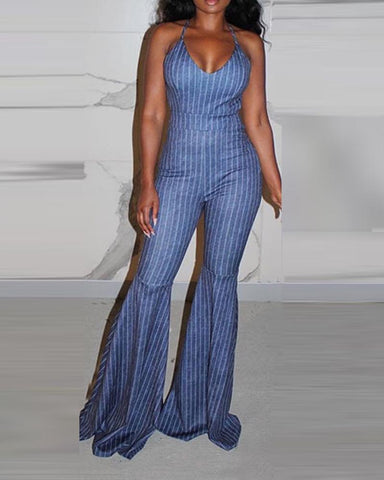 Striped Backless Spaghetti Strap Jumpsuit