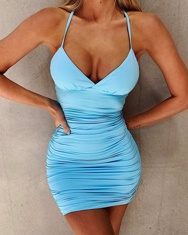 Solid Strap Skinny Strappy Bodycon Mini Dress