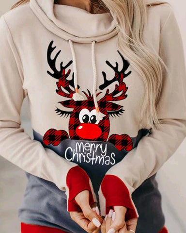 Christmas Cartoon Print Long Sleeve Hooded Sweatshirt
