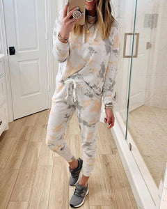 Tie-dye Long Sleeve Casual Suit Sets