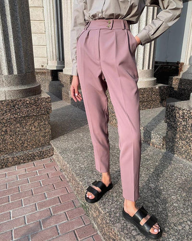 Solid Color Pencil Suit Pants