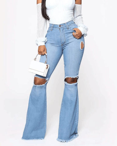 Solid High Waist Ripped Bell Denim Pants