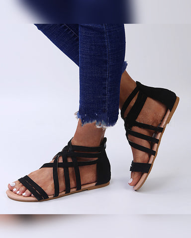 Round-toe Solid Color Straps Open-toe Flat Sandals