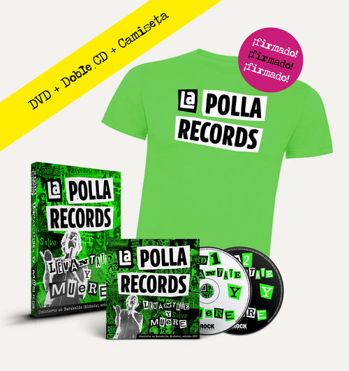 "Pack Doble CD + DVD + Camiseta La Polla Records ""Levántate y Muere"" ¡Firmado!"