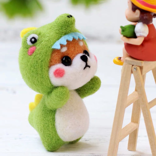 (DIY Package) Shiba Inu wearing dinosaur pajamas