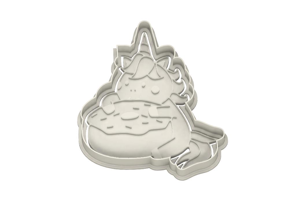 Chubby Unicorn with Donut Cookie Cutter - Dolce3D