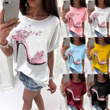 Carica l'immagine nel visualizzatore di Gallery, Women Short Sleeve High Heels Printed Tops Beach Casual Loose Top T Shirt Femme tops New floral thin section camicia donna beach