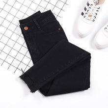Carica l'immagine nel visualizzatore di Gallery, Tassel Jeans Female Denim Pants Black Color Womens Jeans Donna Stretch Bottoms Skinny Pants For Women Casual Trousers Streetwear