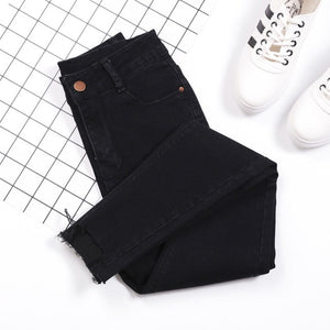 Tassel Jeans Female Denim Pants Black Color Womens Jeans Donna Stretch Bottoms Skinny Pants For Women Casual Trousers Streetwear