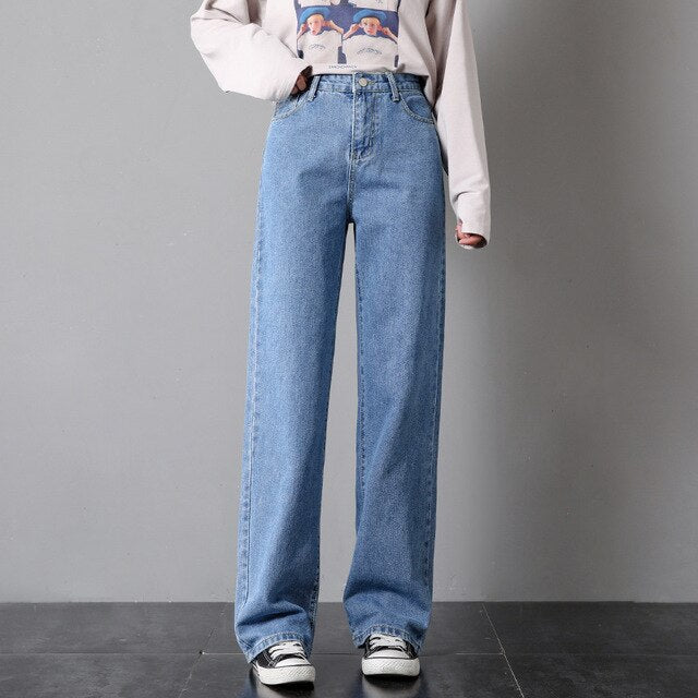 ZSRS Jeans Femme High Waist  Wide Leg Jeans Loose Fit Leisure Vogue Jeans Donna Full Length Straight Casual Jeans Spring Summer