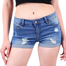 Carica l'immagine nel visualizzatore di Gallery, Ripped Cuffs Denim Womens Short mujer Mid Waist Shorts Jeans Summer Shorts For Women's Scratched pantaloncini donna