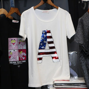 2020 summer Donna New Fashion M-3XL Plus Size T Shirt Women pointed star Sequin Short Sleeve Tees Casual Cotton T-shirt C1079