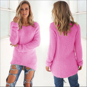 Pink Plush Women Sweater Winter Warm Maglioni Donna Solid Jersey Mujer Invierno 10 Colors Black Sweater Pull Long Femme Pullover