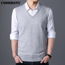 Carica l'immagine nel visualizzatore di Gallery, COODRONY Sweater Men Autumn Winter Warm Cashmere Woolen Mens Sweaters Classic Pure Color V-Neck Sleeveless Vest Pull Homme 91020