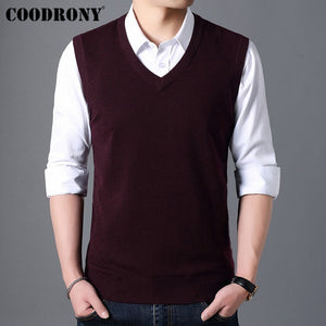COODRONY Sweater Men Autumn Winter Warm Cashmere Woolen Mens Sweaters Classic Pure Color V-Neck Sleeveless Vest Pull Homme 91020