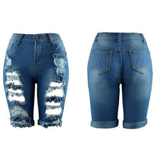 Carica l'immagine nel visualizzatore di Gallery, Women Elastic Destroyed Hole Leggings Short Pants Denim Shorts Ripped Jeans Jeans da donna