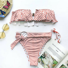 Carica l'immagine nel visualizzatore di Gallery, Women Bikini Set Striped Swimwear Push-Up Padded Bandeau Bra Ruffle Swimsuit Bathing Beachwear Costumi Da Bagno Donna