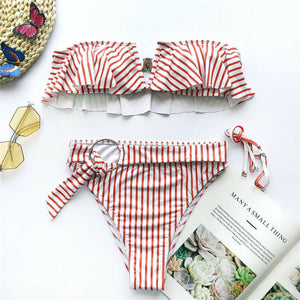 Women Bikini Set Striped Swimwear Push-Up Padded Bandeau Bra Ruffle Swimsuit Bathing Beachwear Costumi Da Bagno Donna