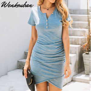 Summer Dress Women Sexy Dress Fashion Solid Slim Bodycon Dress Ladies Short Sleeve Party Dress Female Mini Dress Vestiti Donna